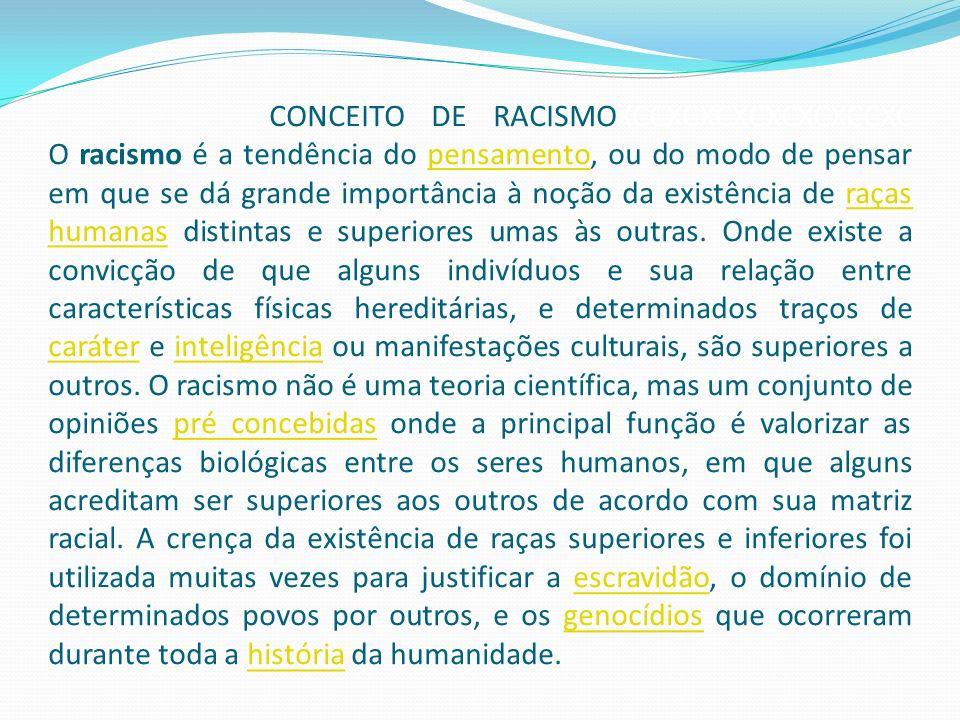 CONCEITO DE RACISMOXCCXCXCXCXCXCXCCXC O racismo é a tendência do pensamento, ou do modo de pensar em que se dá grande importância à noção da existênci