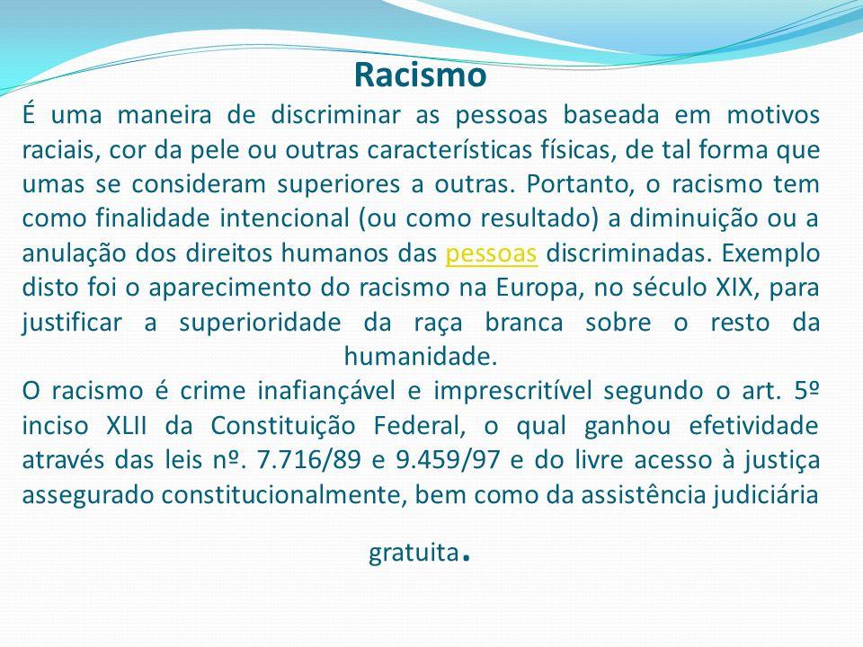 Racismo É uma maneira de discriminar as pessoas baseada em motivos raciais, cor da pele ou outras características físicas, de tal forma que umas se co