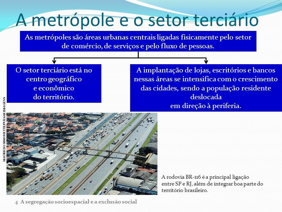 A metrópole e o setor terciário As metrópoles são áreas urbanas centrais ligadas fisicamente pelo setor de comércio, de serviços e pelo fluxo de pesso