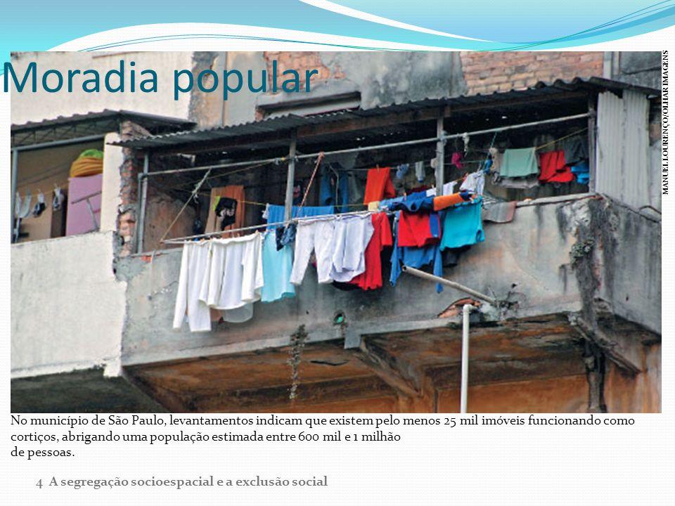 Moradia popular No município de São Paulo, levantamentos indicam que existem pelo menos 25 mil imóveis funcionando como cortiços, abrigando uma popula