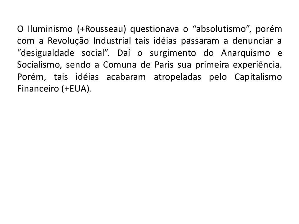 O Iluminismo (+Rousseau) questionava o absolutismo, porém com a Revolução Industrial tais idéias passaram a denunciar a desigualdade social. Daí o sur