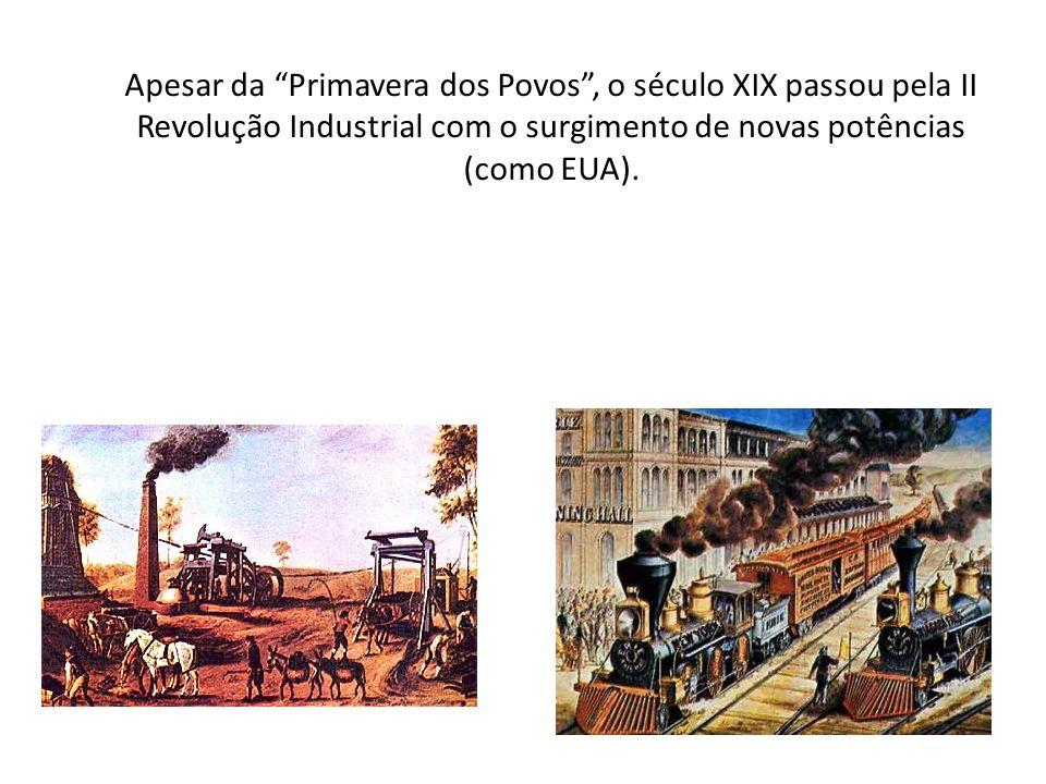 Apesar da Primavera dos Povos, o século XIX passou pela II Revolução Industrial com o surgimento de novas potências (como EUA).