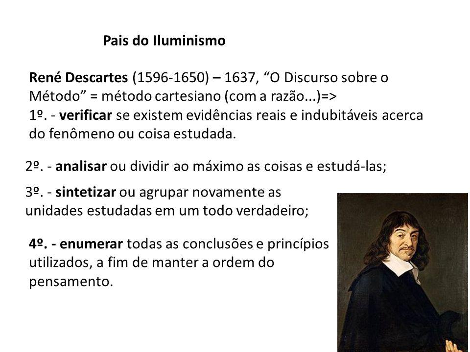 Pais do Iluminismo René Descartes (1596-1650) – 1637, O Discurso sobre o Método = método cartesiano (com a razão...)=> 1º. - verificar se existem evid