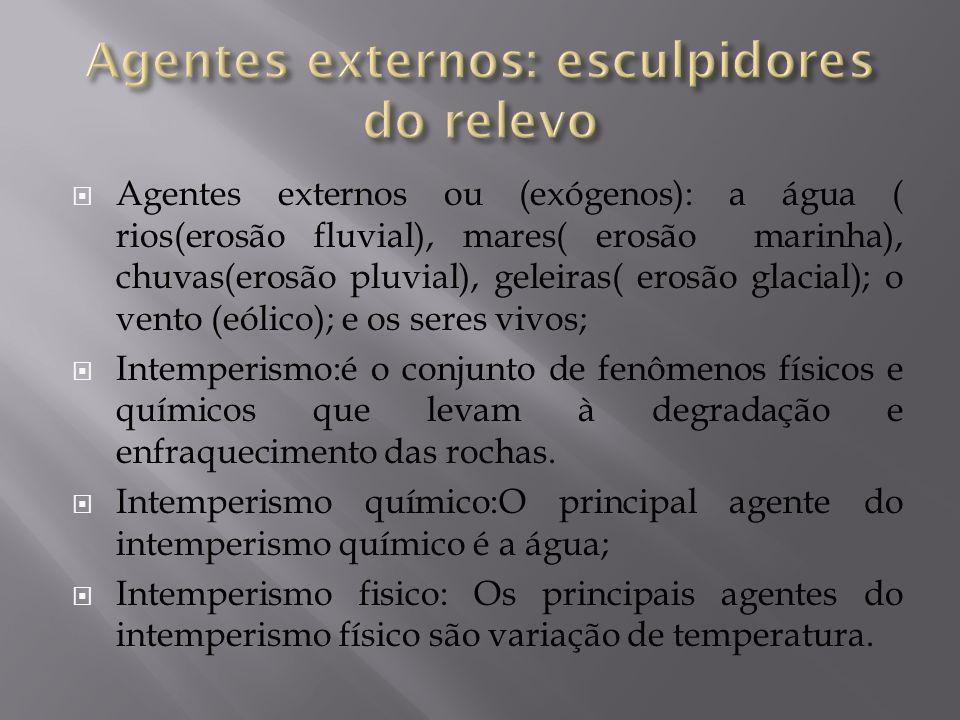 Agentes externos ou (exógenos): a água ( rios(erosão fluvial), mares( erosão marinha), chuvas(erosão pluvial), geleiras( erosão glacial); o vento (eól