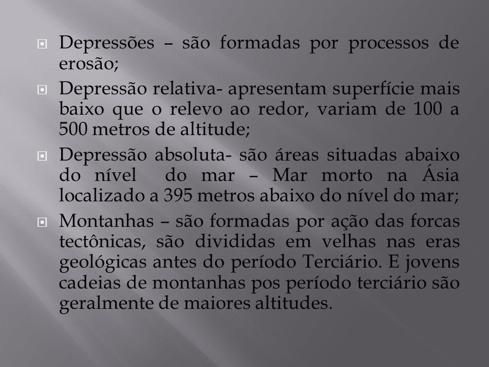 Depressões – são formadas por processos de erosão; Depressão relativa- apresentam superfície mais baixo que o relevo ao redor, variam de 100 a 500 met