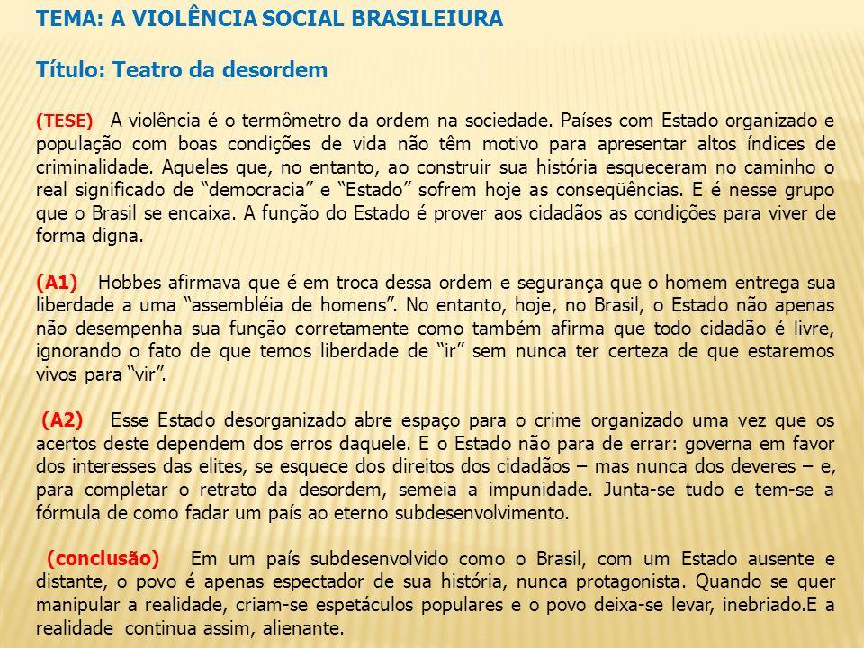 TEMA: A VIOLÊNCIA SOCIAL BRASILEIURA Título: Teatro da desordem (TESE) A violência é o termômetro da ordem na sociedade. Países com Estado organizado