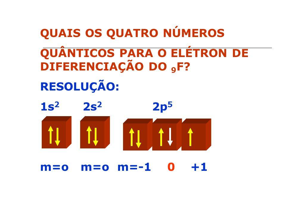 QUAIS OS QUATRO NÚMEROS QUÂNTICOS PARA O ELÉTRON DE DIFERENCIAÇÃO DO 9 F.