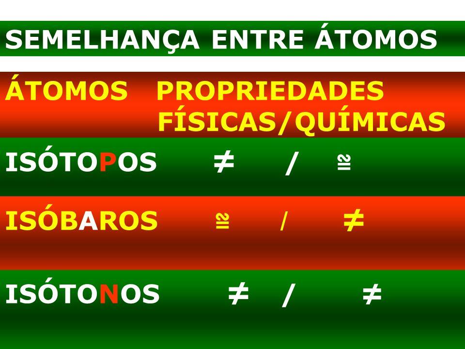 ÁTOMOS PROPRIEDADES FÍSICAS/QUÍMICAS ISÓTOPOS / ISÓBAROS / ISÓTONOS / SEMELHANÇA ENTRE ÁTOMOS