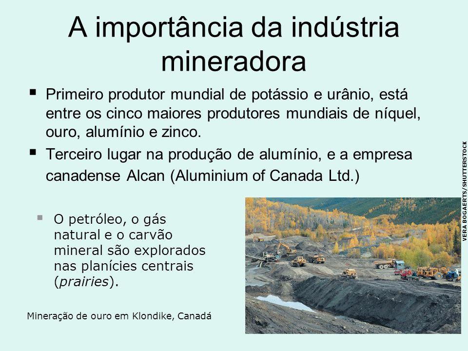 A importância da indústria mineradora Primeiro produtor mundial de potássio e urânio, está entre os cinco maiores produtores mundiais de níquel, ouro,