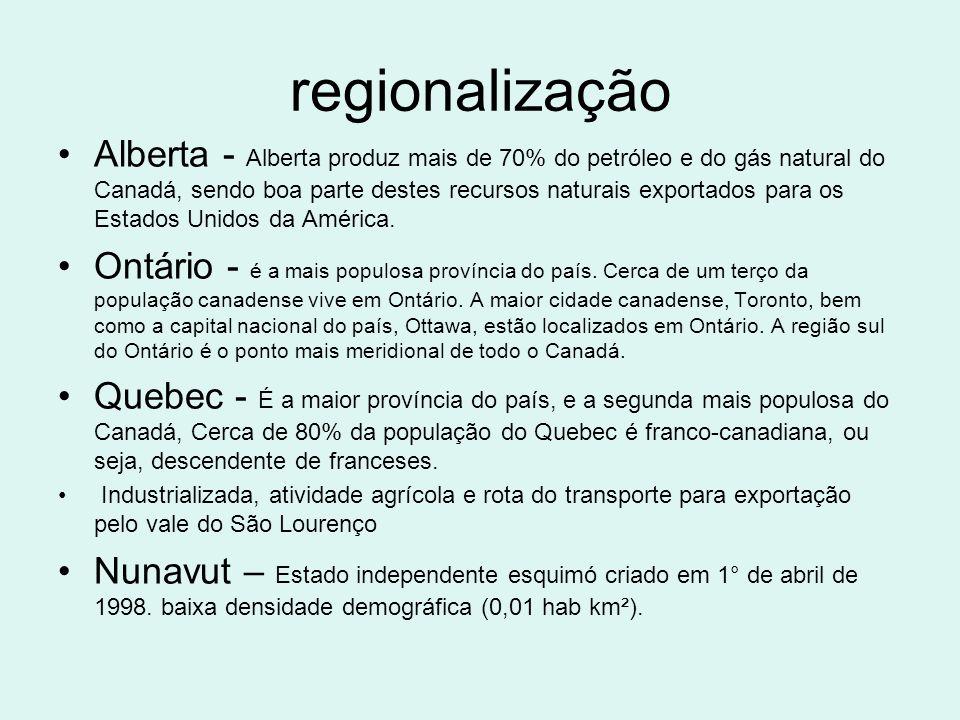 regionalização Alberta - Alberta produz mais de 70% do petróleo e do gás natural do Canadá, sendo boa parte destes recursos naturais exportados para o