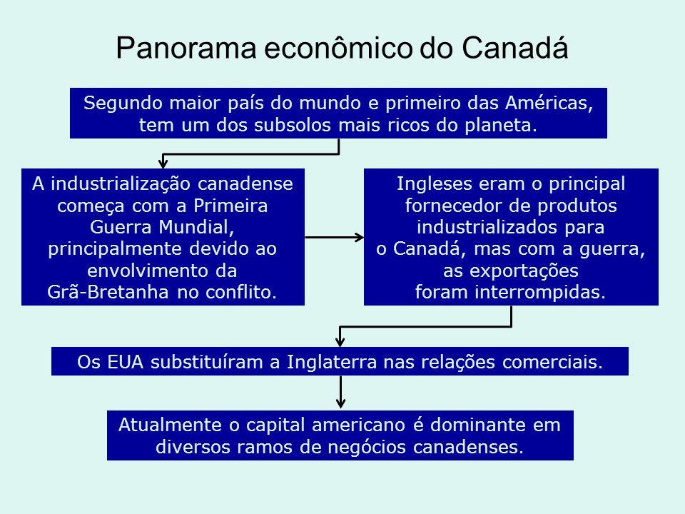 Panorama econômico do Canadá Segundo maior país do mundo e primeiro das Américas, tem um dos subsolos mais ricos do planeta. A industrialização canade