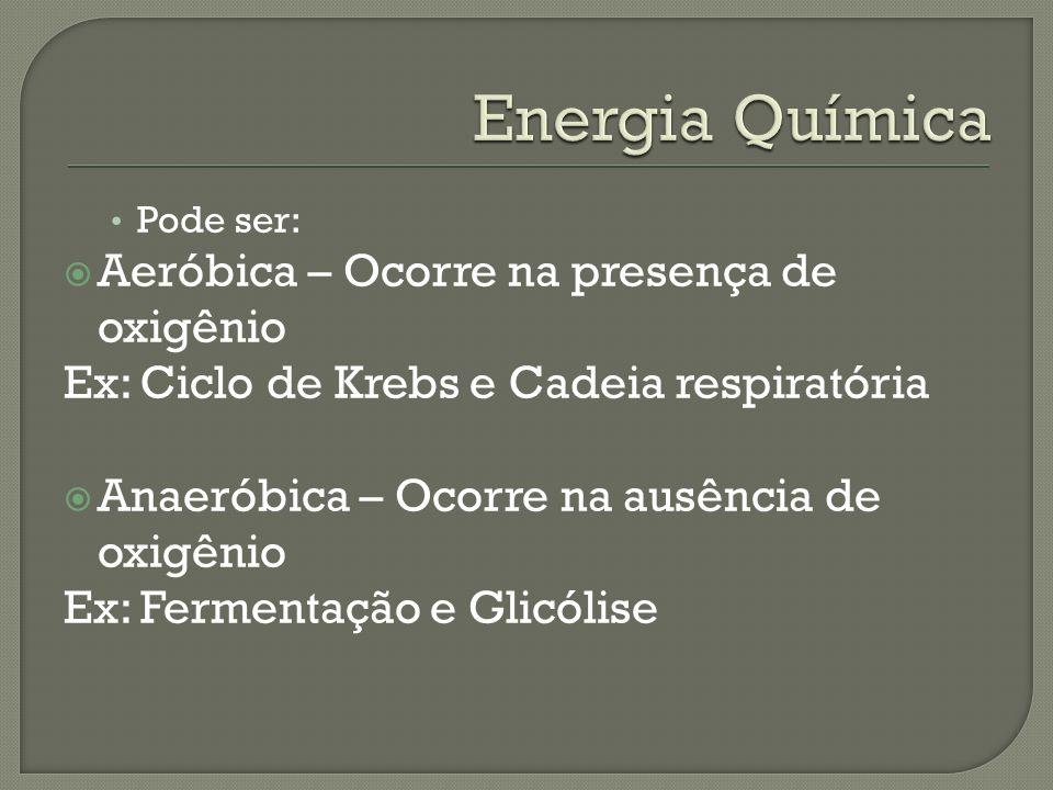 Pode ser: Aeróbica – Ocorre na presença de oxigênio Ex: Ciclo de Krebs e Cadeia respiratória Anaeróbica – Ocorre na ausência de oxigênio Ex: Fermentaç
