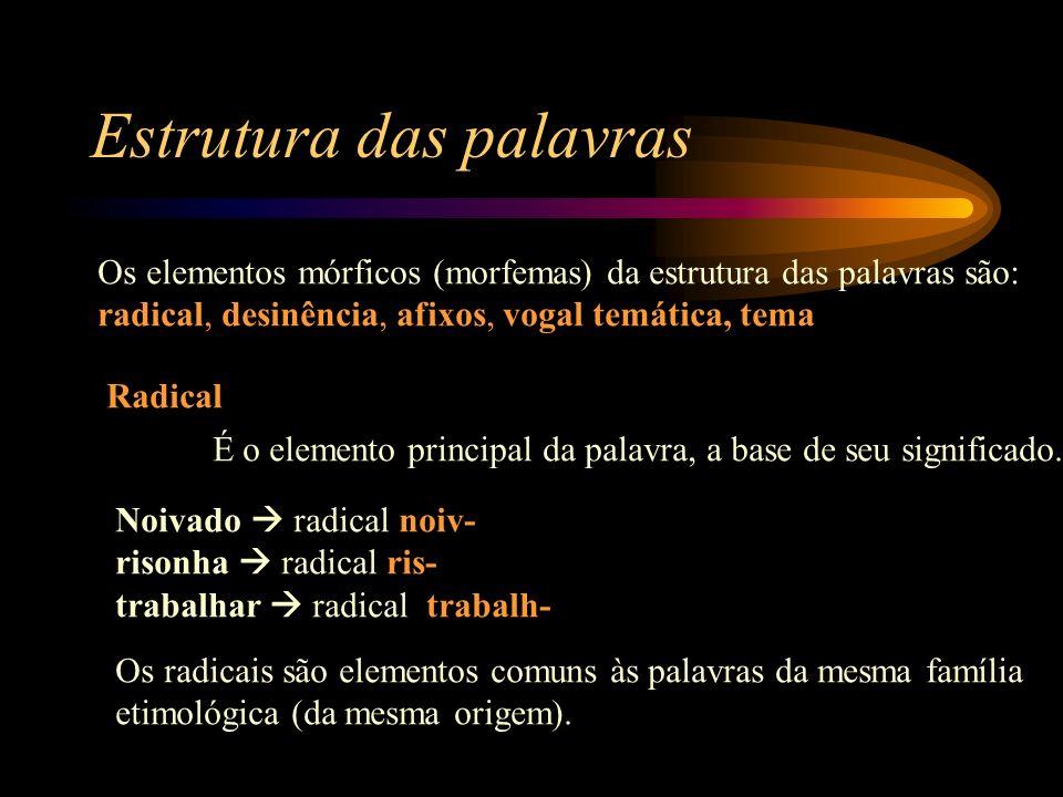 Estrutura das palavras Os elementos mórficos (morfemas) da estrutura das palavras são: radical, desinência, afixos, vogal temática, tema Radical É o elemento principal da palavra, a base de seu significado.