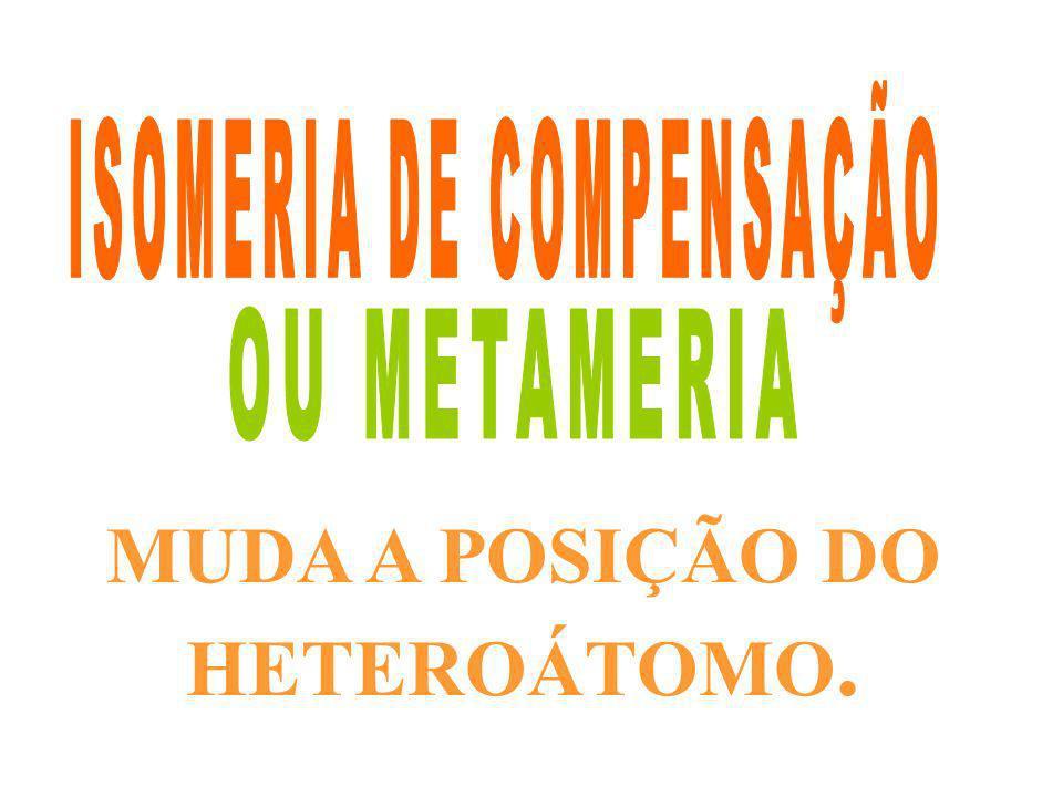 MUDA A POSIÇÃO DO HETEROÁTOMO.