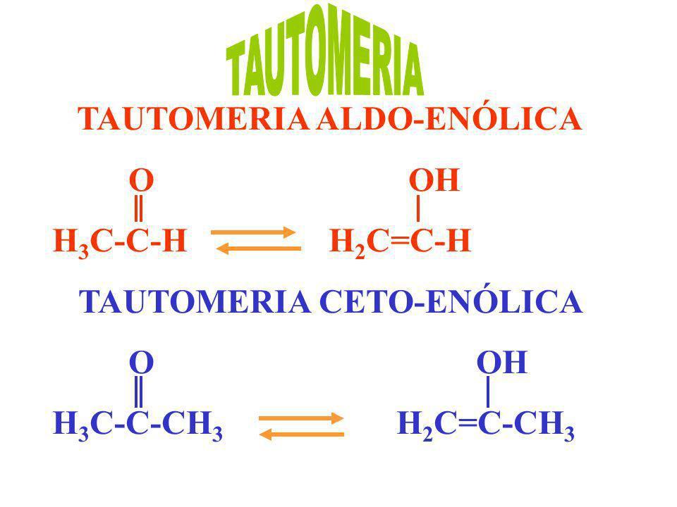 TAUTOMERIA ALDO-ENÓLICA O OH H 3 C-C-H H 2 C=C-H TAUTOMERIA CETO-ENÓLICA O OH H 3 C-C-CH 3 H 2 C=C-CH 3
