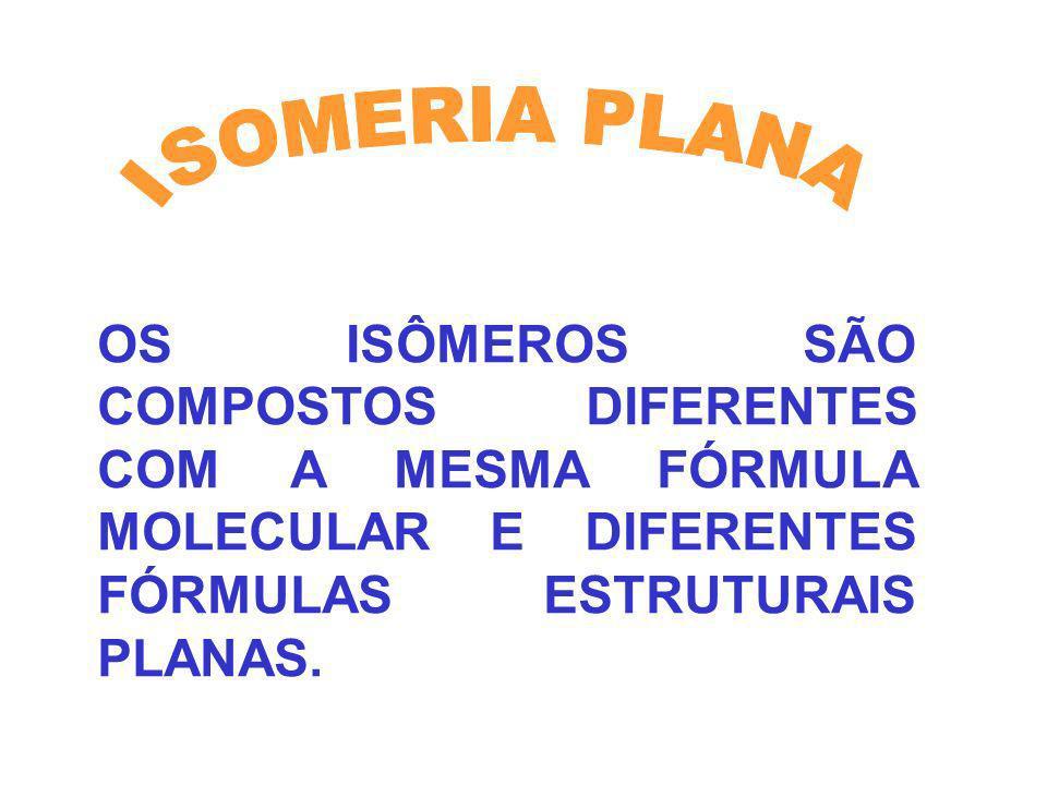 OS ISÔMEROS SÃO COMPOSTOS DIFERENTES COM A MESMA FÓRMULA MOLECULAR E DIFERENTES FÓRMULAS ESTRUTURAIS PLANAS.