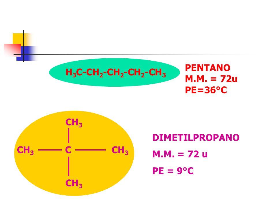 DIMETILPROPANO M.M. = 72 u PE = 9°C PENTANO M.M. = 72u PE=36°C H 3 C-CH 2 -CH 2 -CH 2 -CH 3 CH 3 CH 3 C CH 3 CH 3