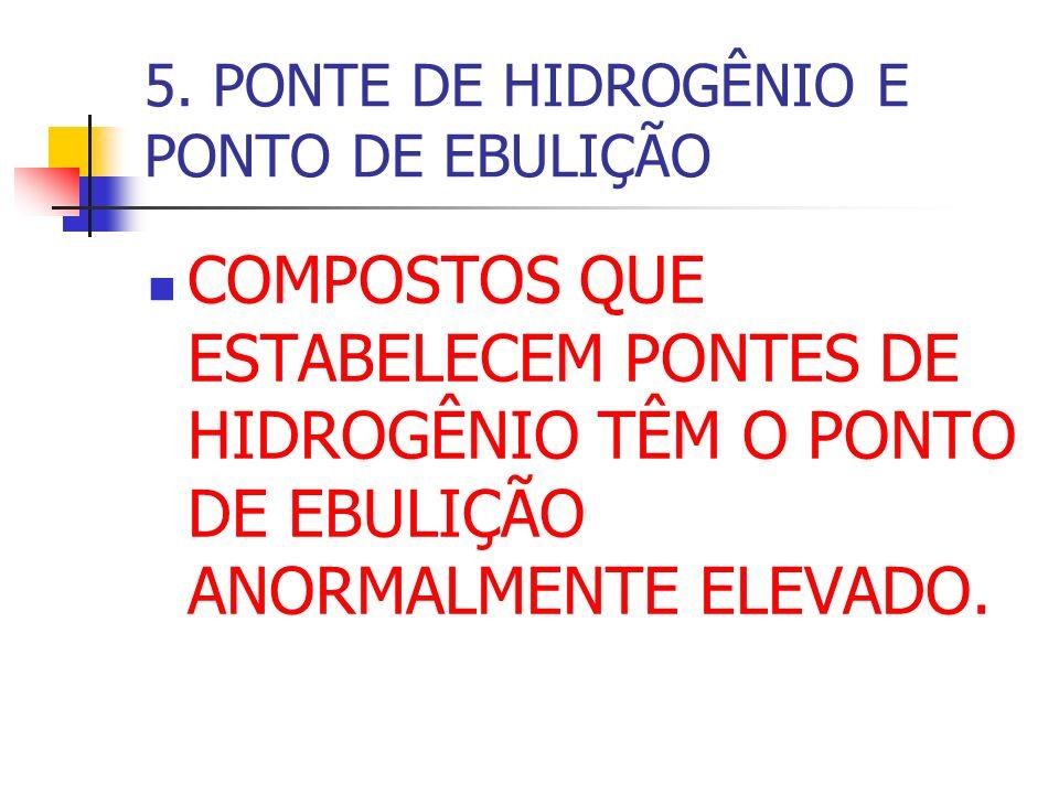 5. PONTE DE HIDROGÊNIO E PONTO DE EBULIÇÃO COMPOSTOS QUE ESTABELECEM PONTES DE HIDROGÊNIO TÊM O PONTO DE EBULIÇÃO ANORMALMENTE ELEVADO.