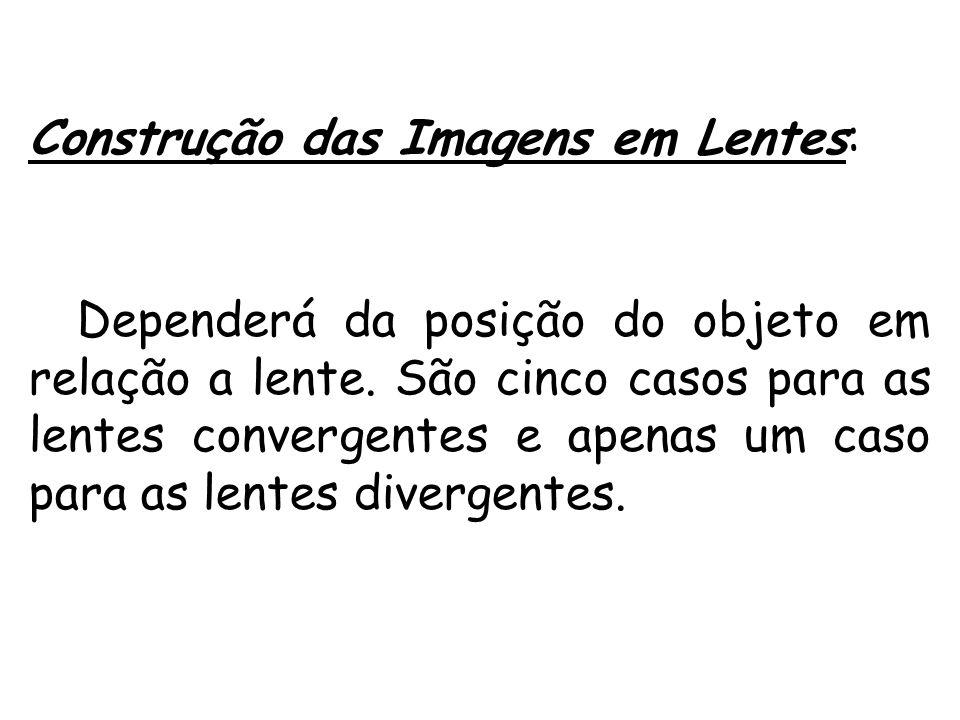 Construção das Imagens em Lentes: Dependerá da posição do objeto em relação a lente. São cinco casos para as lentes convergentes e apenas um caso para