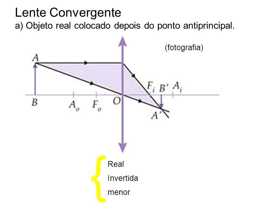 Lente Convergente a) Objeto real colocado depois do ponto antiprincipal. (fotografia) Real Invertida menor {