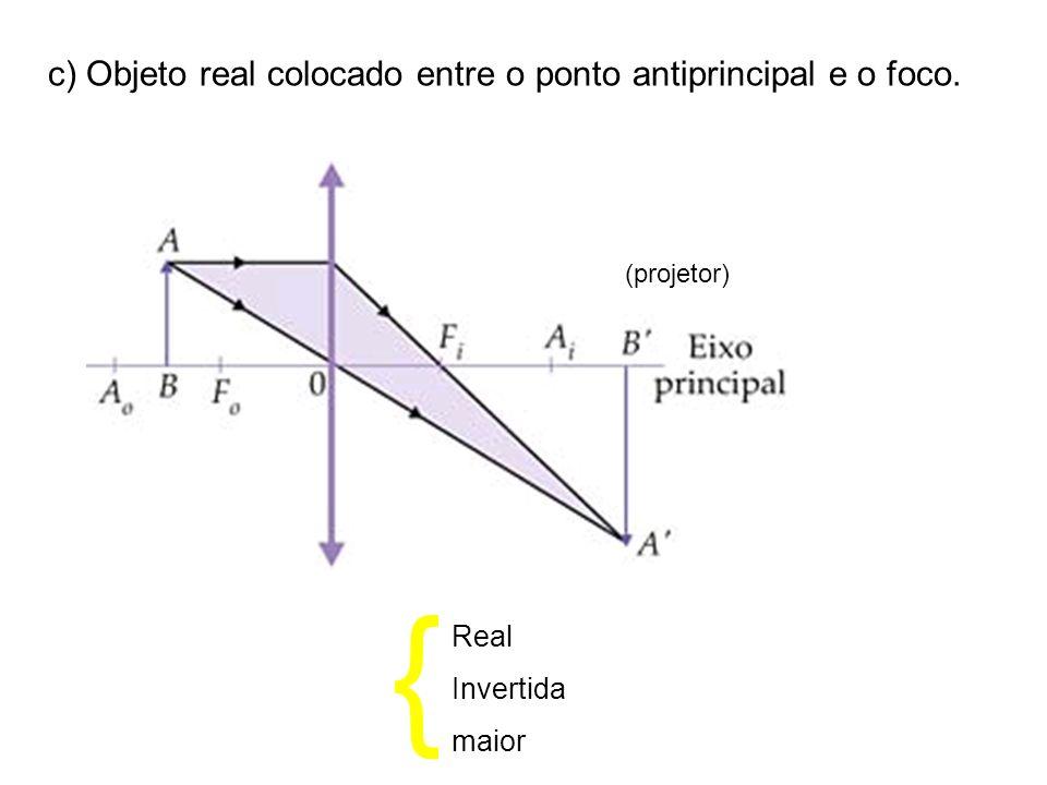 c) Objeto real colocado entre o ponto antiprincipal e o foco. (projetor) Real Invertida maior {