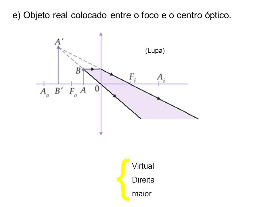 e) Objeto real colocado entre o foco e o centro óptico. (Lupa) { Virtual Direita maior
