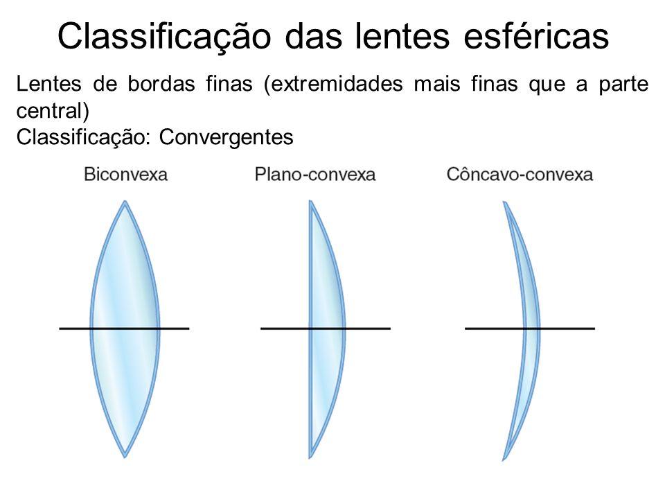 Classificação das lentes esféricas Lentes de bordas finas (extremidades mais finas que a parte central) Classificação: Convergentes