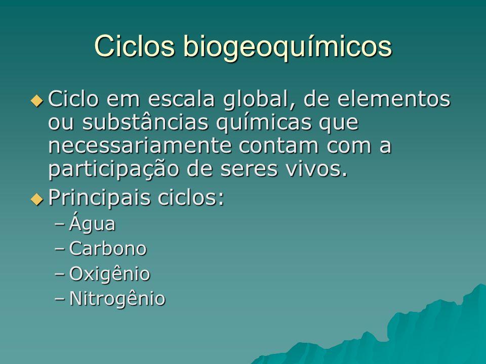 Ciclos biogeoquímicos Ciclo em escala global, de elementos ou substâncias químicas que necessariamente contam com a participação de seres vivos. Ciclo