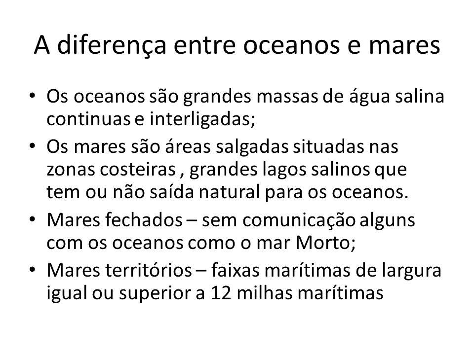 A diferença entre oceanos e mares Os oceanos são grandes massas de água salina continuas e interligadas; Os mares são áreas salgadas situadas nas zona