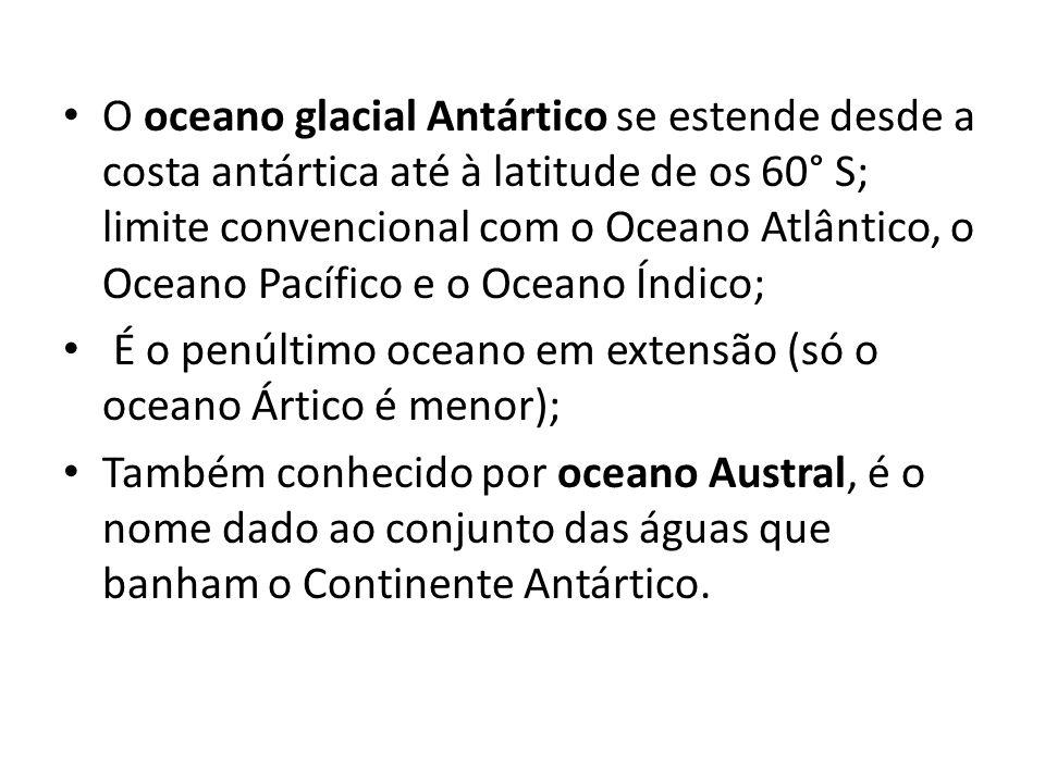 O oceano glacial Antártico se estende desde a costa antártica até à latitude de os 60° S; limite convencional com o Oceano Atlântico, o Oceano Pacífic