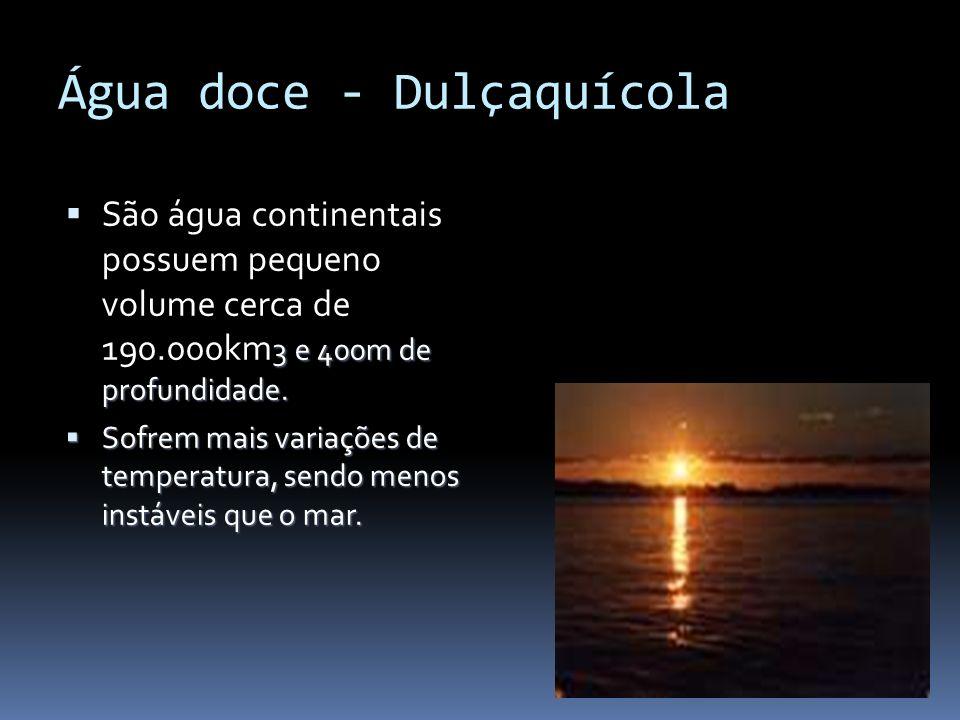 Água doce - Dulçaquícola 3 e 400m de profundidade. São água continentais possuem pequeno volume cerca de 190.000km 3 e 400m de profundidade. Sofrem ma