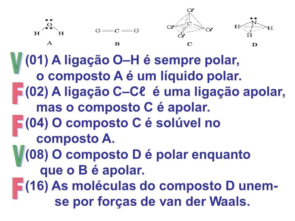 (01) A ligação O–H é sempre polar, o composto A é um líquido polar. (02) A ligação C–C é uma ligação apolar, mas o composto C é apolar. (04) O compost