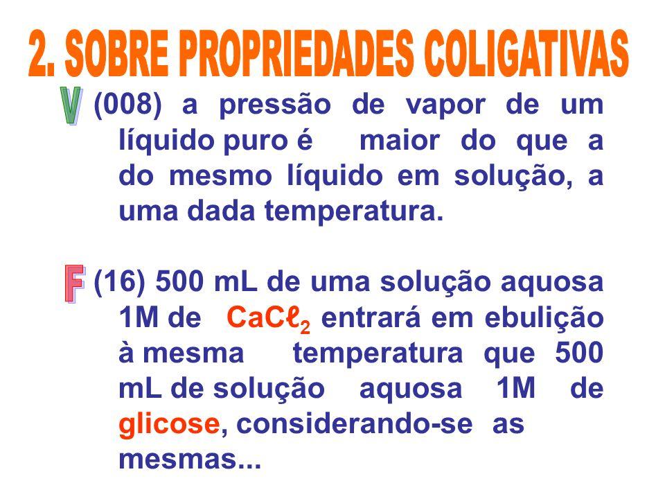 (008) a pressão de vapor de um líquido puro é maior do que a do mesmo líquido em solução, a uma dada temperatura. (16) 500 mL de uma solução aquosa 1M