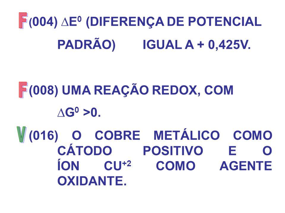 ( 004) E 0 (DIFERENÇA DE POTENCIAL PADRÃO) IGUAL A + 0,425V. (008) UMA REAÇÃO REDOX, COM G 0 >0. (016) O COBRE METÁLICO COMO CÁTODO POSITIVO E O ÍON C