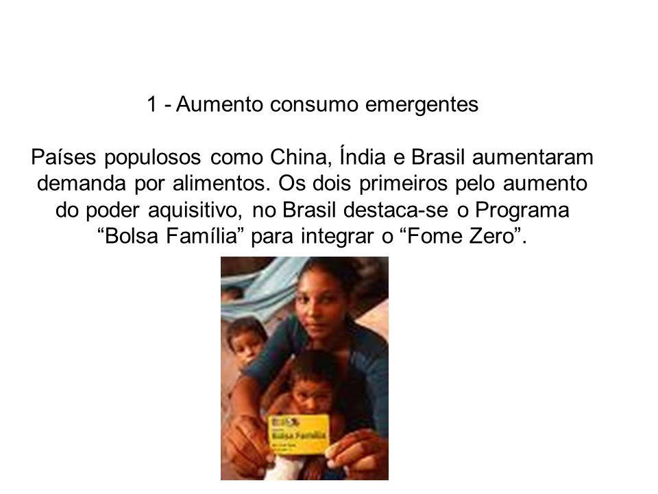 1 - Aumento consumo emergentes Países populosos como China, Índia e Brasil aumentaram demanda por alimentos. Os dois primeiros pelo aumento do poder a