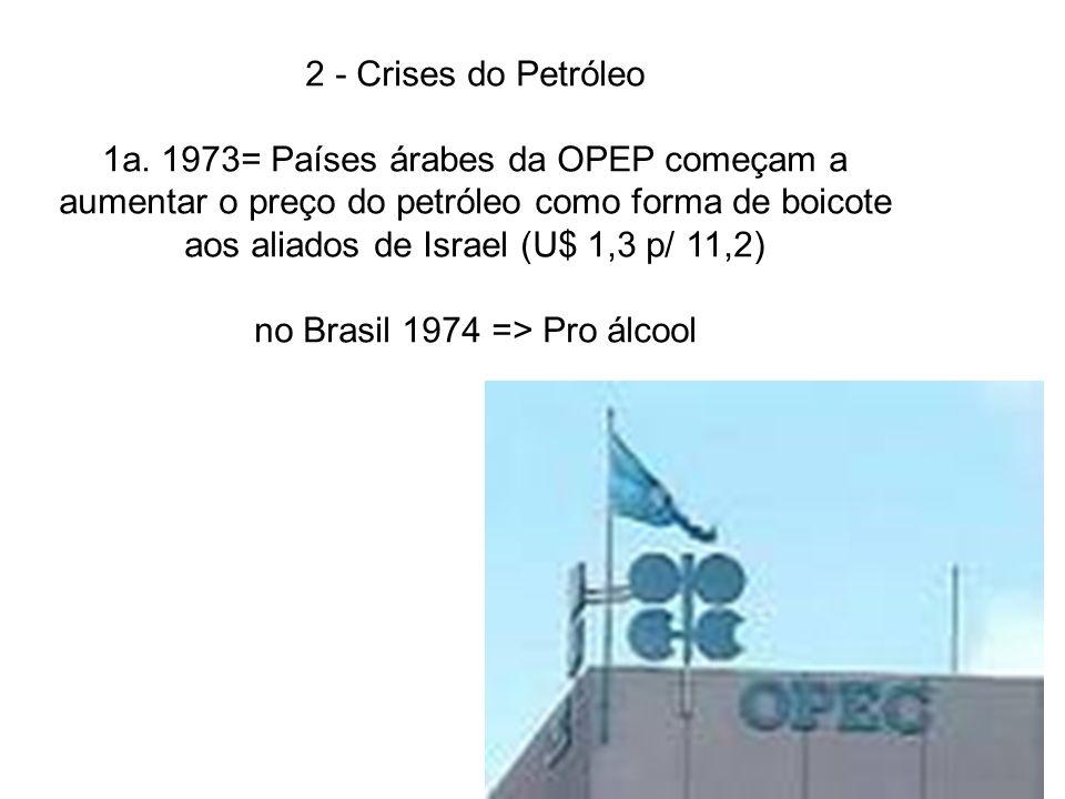 2 - Crises do Petróleo 1a. 1973= Países árabes da OPEP começam a aumentar o preço do petróleo como forma de boicote aos aliados de Israel (U$ 1,3 p/ 1