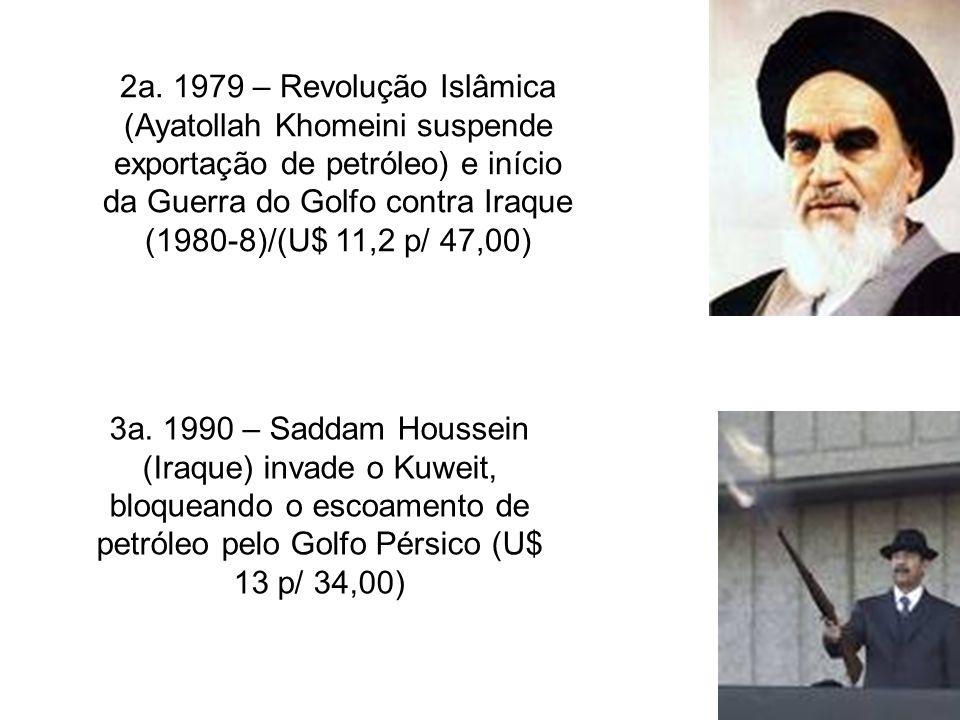 2a. 1979 – Revolução Islâmica (Ayatollah Khomeini suspende exportação de petróleo) e início da Guerra do Golfo contra Iraque (1980-8)/(U$ 11,2 p/ 47,0