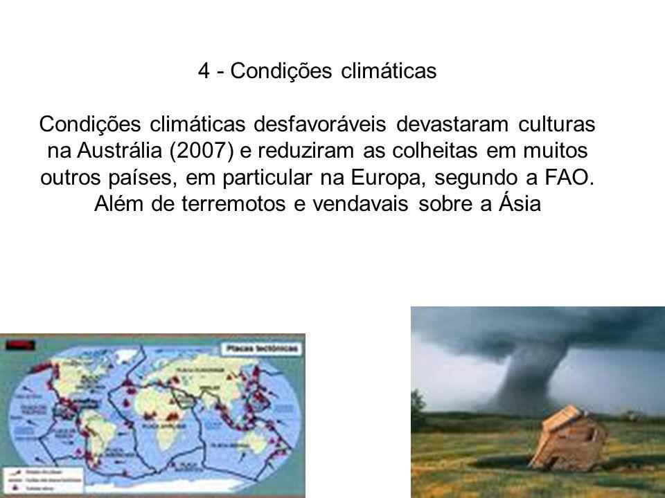 4 - Condições climáticas Condições climáticas desfavoráveis devastaram culturas na Austrália (2007) e reduziram as colheitas em muitos outros países,