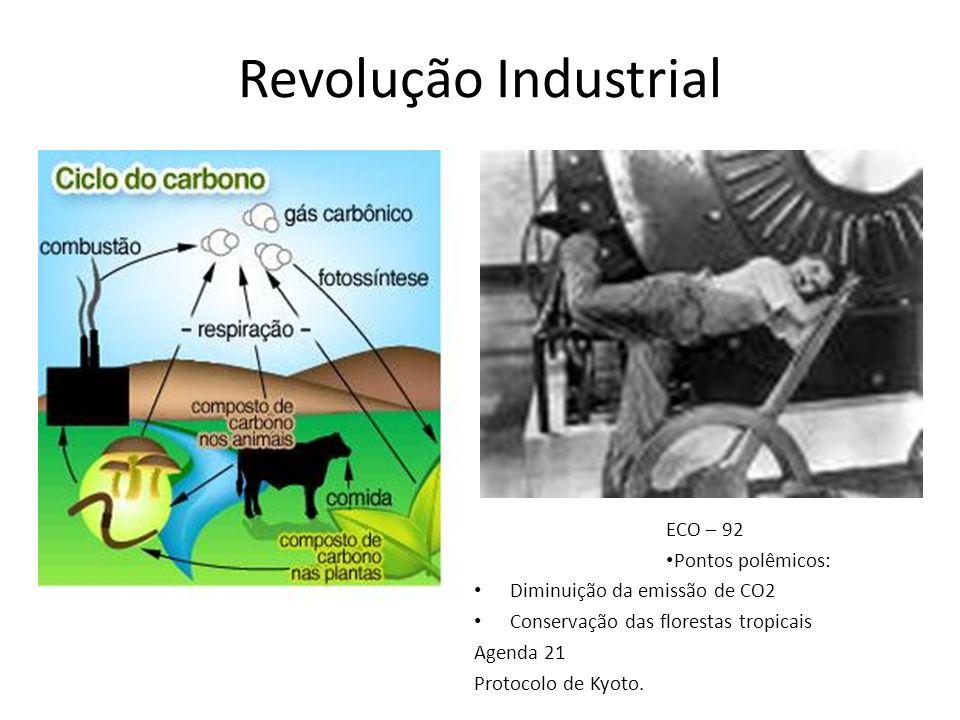 Revolução Industrial ECO – 92 Pontos polêmicos: Diminuição da emissão de CO2 Conservação das florestas tropicais Agenda 21 Protocolo de Kyoto.