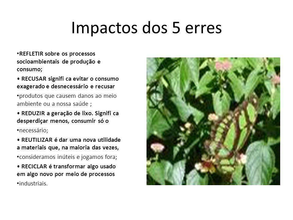 Impactos dos 5 erres REFLETIR sobre os processos socioambientais de produção e consumo; RECUSAR signifi ca evitar o consumo exagerado e desnecessário