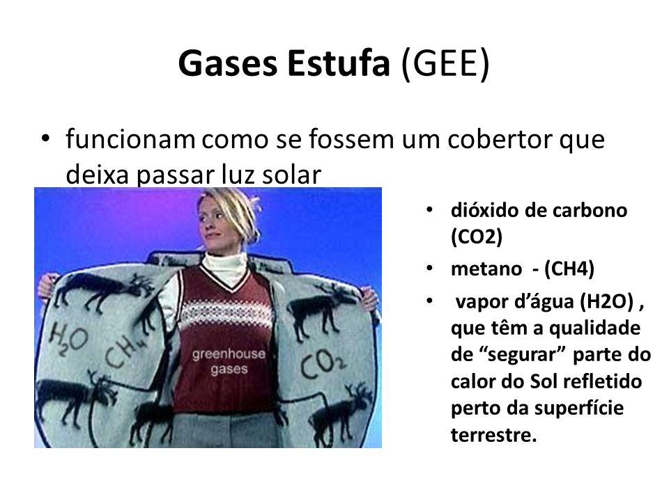 Gases Estufa (GEE) funcionam como se fossem um cobertor que deixa passar luz solar dióxido de carbono (CO2) metano - (CH4) vapor dágua (H2O), que têm
