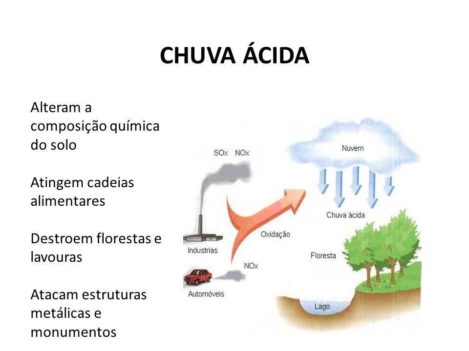 CHUVA ÁCIDA Alteram a composição química do solo Atingem cadeias alimentares Destroem florestas e lavouras Atacam estruturas metálicas e monumentos