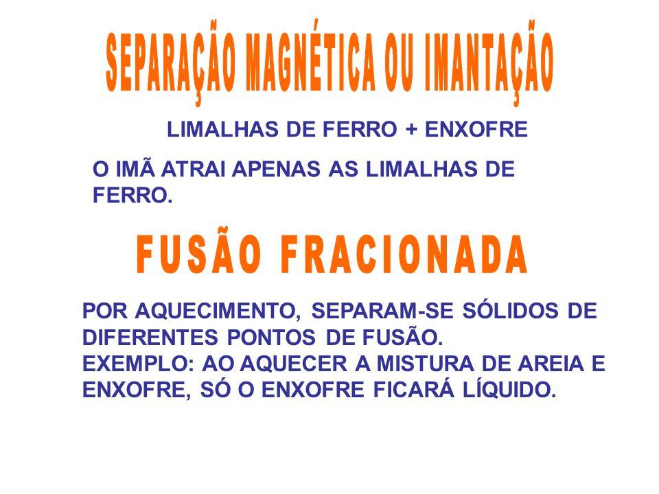 LIMALHAS DE FERRO + ENXOFRE O IMÃ ATRAI APENAS AS LIMALHAS DE FERRO. POR AQUECIMENTO, SEPARAM-SE SÓLIDOS DE DIFERENTES PONTOS DE FUSÃO. EXEMPLO: AO AQ