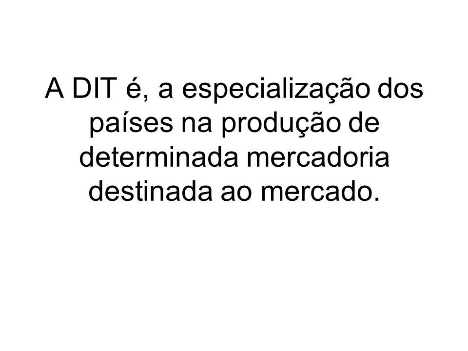 A DIT é, a especialização dos países na produção de determinada mercadoria destinada ao mercado.