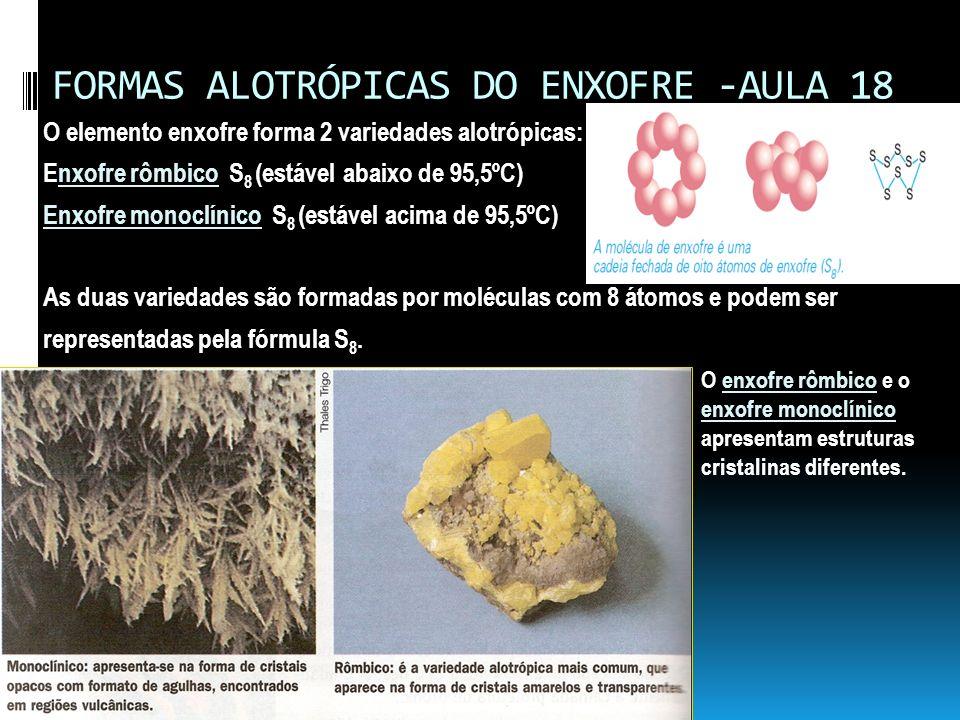 FORMAS ALOTRÓPICAS DO ENXOFRE -AULA 18 O elemento enxofre forma 2 variedades alotrópicas: Enxofre rômbico S 8 (estável abaixo de 95,5ºC) Enxofre monoc