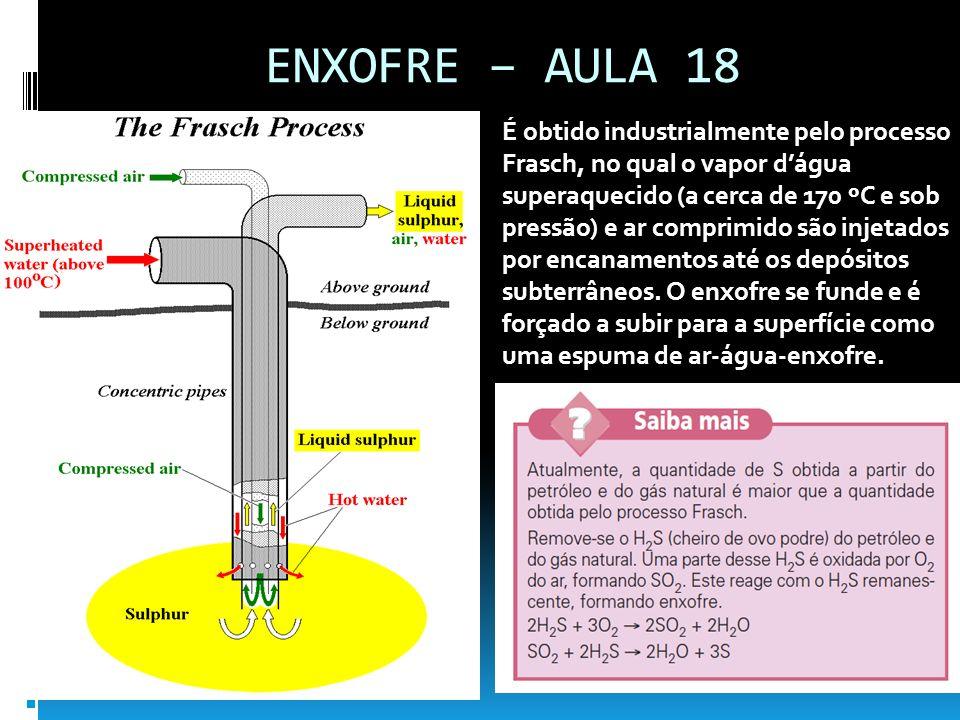 ENXOFRE – AULA 18 É obtido industrialmente pelo processo Frasch, no qual o vapor dágua superaquecido (a cerca de 170 ºC e sob pressão) e ar comprimido
