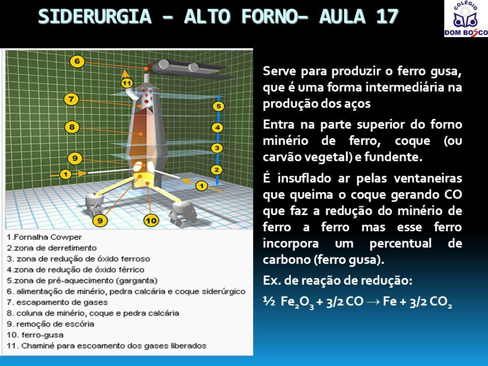 SIDERURGIA – ALTO FORNO– AULA 17 Serve para produzir o ferro gusa, que é uma forma intermediária na produção dos aços Entra na parte superior do forno