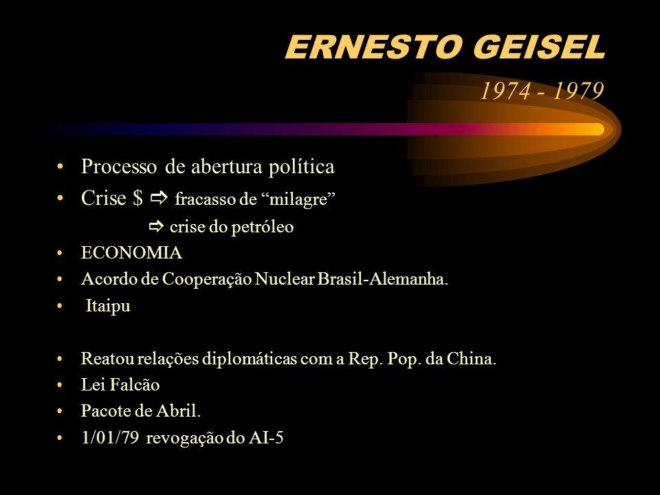 ERNESTO GEISEL 1974 - 1979 Processo de abertura política Crise $ fracasso de milagre crise do petróleo ECONOMIA Acordo de Cooperação Nuclear Brasil-Al
