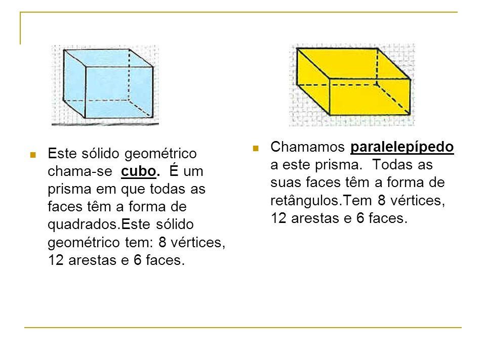 Este sólido geométrico chama-se cubo.