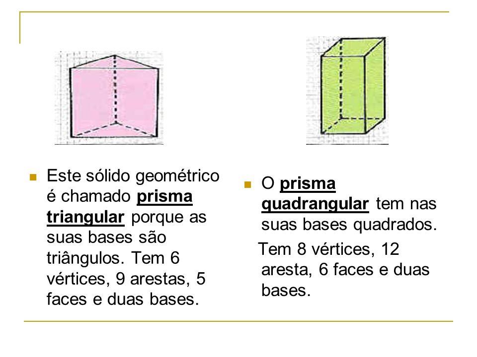 Este sólido chama-se prisma pentagonal, porque as suas bases são pentágonos.